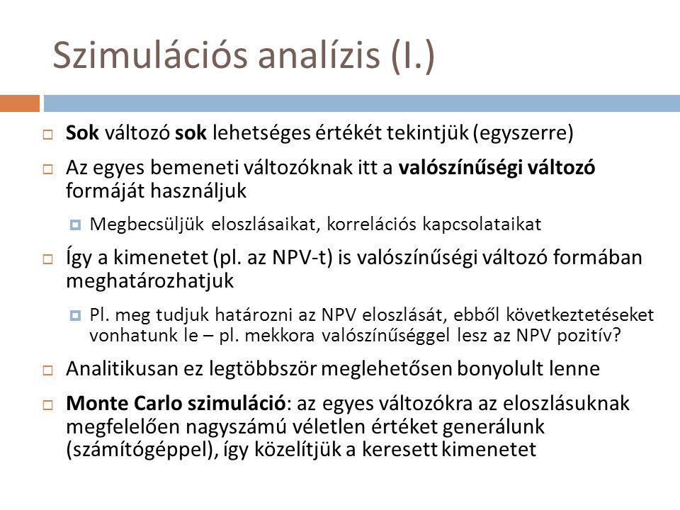 Szimulációs analízis (I.)  Sok változó sok lehetséges értékét tekintjük (egyszerre)  Az egyes bemeneti változóknak itt a valószínűségi változó formá