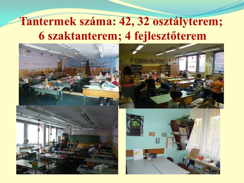 Tantermek száma: 42, 32 osztályterem; 6 szaktanterem; 4 fejlesztőterem