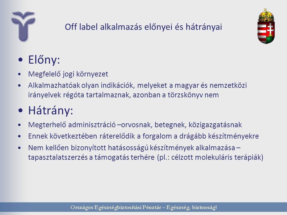 Off label alkalmazás előnyei és hátrányai Előny: Megfelelő jogi környezet Alkalmazhatóak olyan indikációk, melyeket a magyar és nemzetközi irányelvek régóta tartalmaznak, azonban a törzskönyv nem Hátrány: Megterhelő adminisztráció –orvosnak, betegnek, közigazgatásnak Ennek következtében ráterelődik a forgalom a drágább készítményekre Nem kellően bizonyított hatásosságú készítmények alkalmazása – tapasztalatszerzés a támogatás terhére (pl.: célzott molekuláris terápiák)