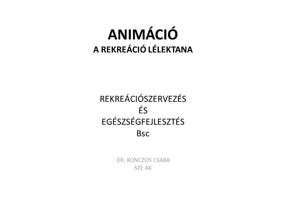 ANIMÁCIÓ A REKREÁCIÓ LÉLEKTANA REKREÁCIÓSZERVEZÉS ÉS EGÉSZSÉGFEJLESZTÉS Bsc DR. KONCZOS CSABA SZE AK