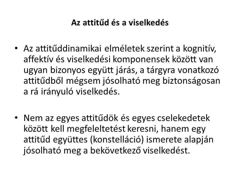 Az attitűd és a viselkedés Az attitűddinamikai elméletek szerint a kognitív, affektív és viselkedési komponensek között van ugyan bizonyos együtt járá