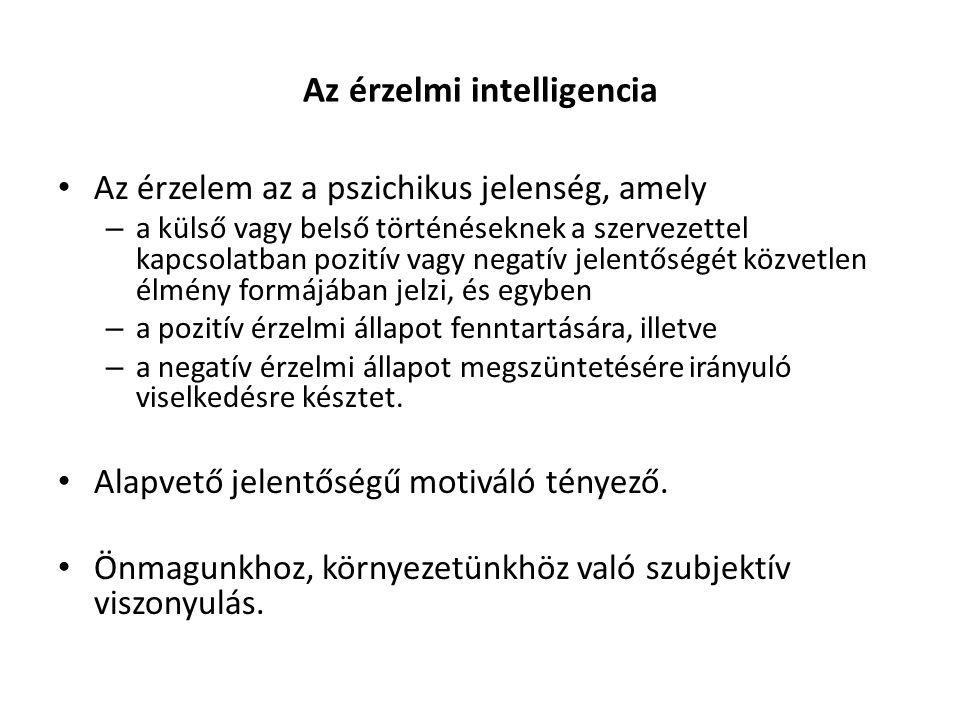 Az érzelmi intelligencia Az érzelem az a pszichikus jelenség, amely – a külső vagy belső történéseknek a szervezettel kapcsolatban pozitív vagy negatí