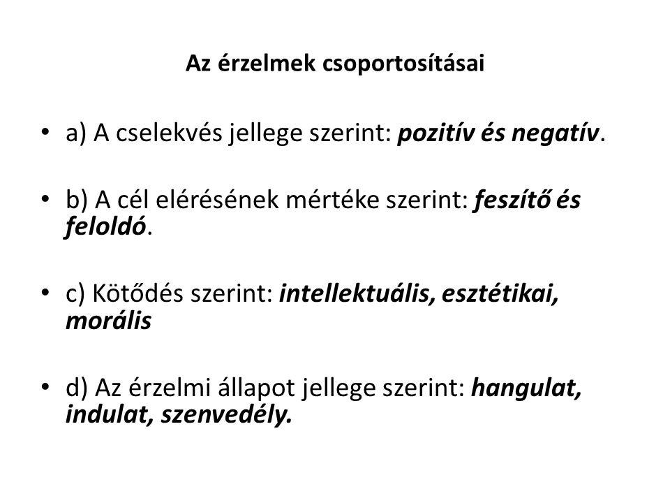 Az érzelmek csoportosításai a) A cselekvés jellege szerint: pozitív és negatív. b) A cél elérésének mértéke szerint: feszítő és feloldó. c) Kötődés sz