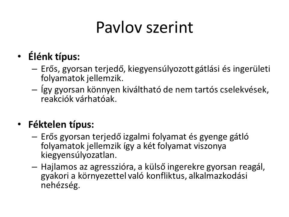 Pavlov szerint Élénk típus: – Erős, gyorsan terjedő, kiegyensúlyozott gátlási és ingerületi folyamatok jellemzik. – Így gyorsan könnyen kiváltható de