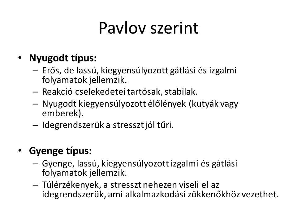 Pavlov szerint Nyugodt típus: – Erős, de lassú, kiegyensúlyozott gátlási és izgalmi folyamatok jellemzik. – Reakció cselekedetei tartósak, stabilak. –