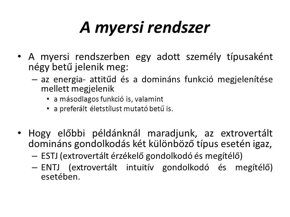 A myersi rendszer A myersi rendszerben egy adott személy típusaként négy betű jelenik meg: – az energia- attitűd és a domináns funkció megjelenítése mellett megjelenik a másodlagos funkció is, valamint a preferált életstílust mutató betű is.