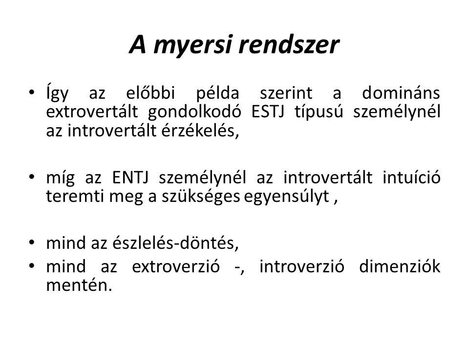 A myersi rendszer Így az előbbi példa szerint a domináns extrovertált gondolkodó ESTJ típusú személynél az introvertált érzékelés, míg az ENTJ személynél az introvertált intuíció teremti meg a szükséges egyensúlyt, mind az észlelés-döntés, mind az extroverzió -, introverzió dimenziók mentén.