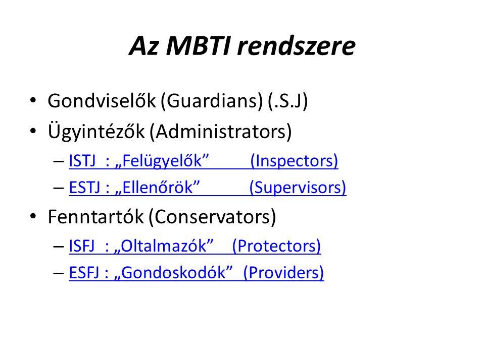 """Az MBTI rendszere Gondviselők (Guardians) (.S.J) Ügyintézők (Administrators) – ISTJ : """"Felügyelők (Inspectors) ISTJ : """"Felügyelők (Inspectors) – ESTJ : """"Ellenőrök (Supervisors) ESTJ : """"Ellenőrök (Supervisors) Fenntartók (Conservators) – ISFJ : """"Oltalmazók (Protectors) ISFJ : """"Oltalmazók (Protectors) – ESFJ : """"Gondoskodók (Providers) ESFJ : """"Gondoskodók (Providers)"""