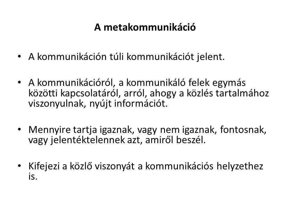 A metakommunikáció A kommunikáción túli kommunikációt jelent.
