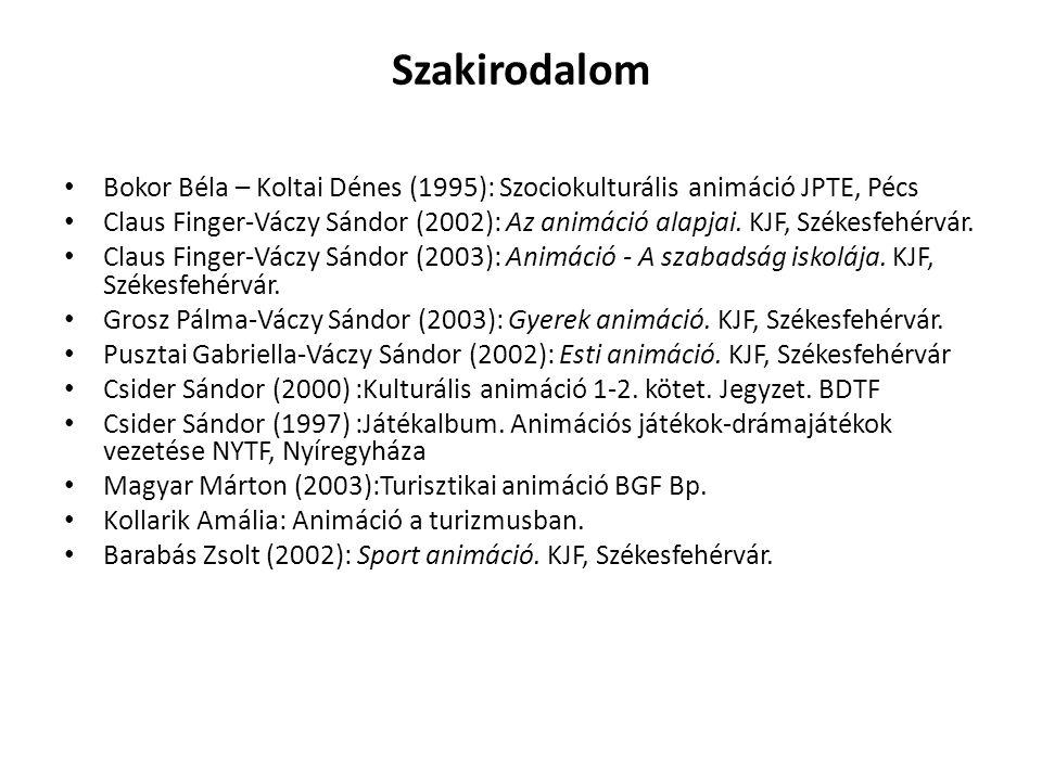 Szakirodalom Bokor Béla – Koltai Dénes (1995): Szociokulturális animáció JPTE, Pécs Claus Finger-Váczy Sándor (2002): Az animáció alapjai. KJF, Székes