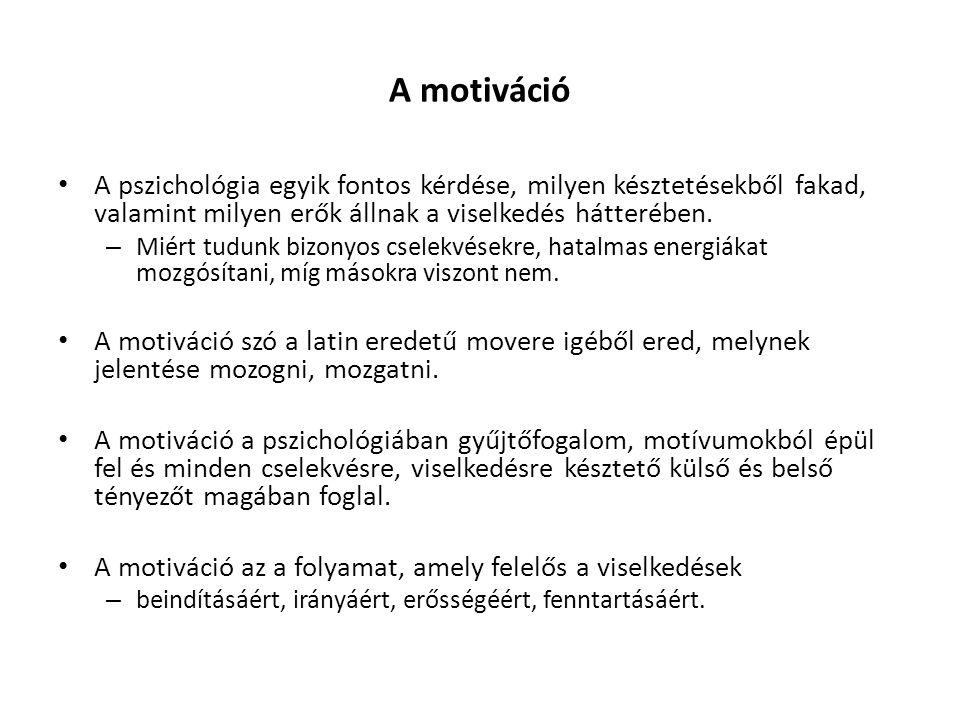 A motiváció A pszichológia egyik fontos kérdése, milyen késztetésekből fakad, valamint milyen erők állnak a viselkedés hátterében.