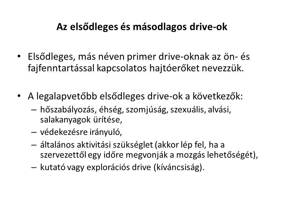 Az elsődleges és másodlagos drive-ok Elsődleges, más néven primer drive-oknak az ön- és fajfenntartással kapcsolatos hajtóerőket nevezzük. A legalapve