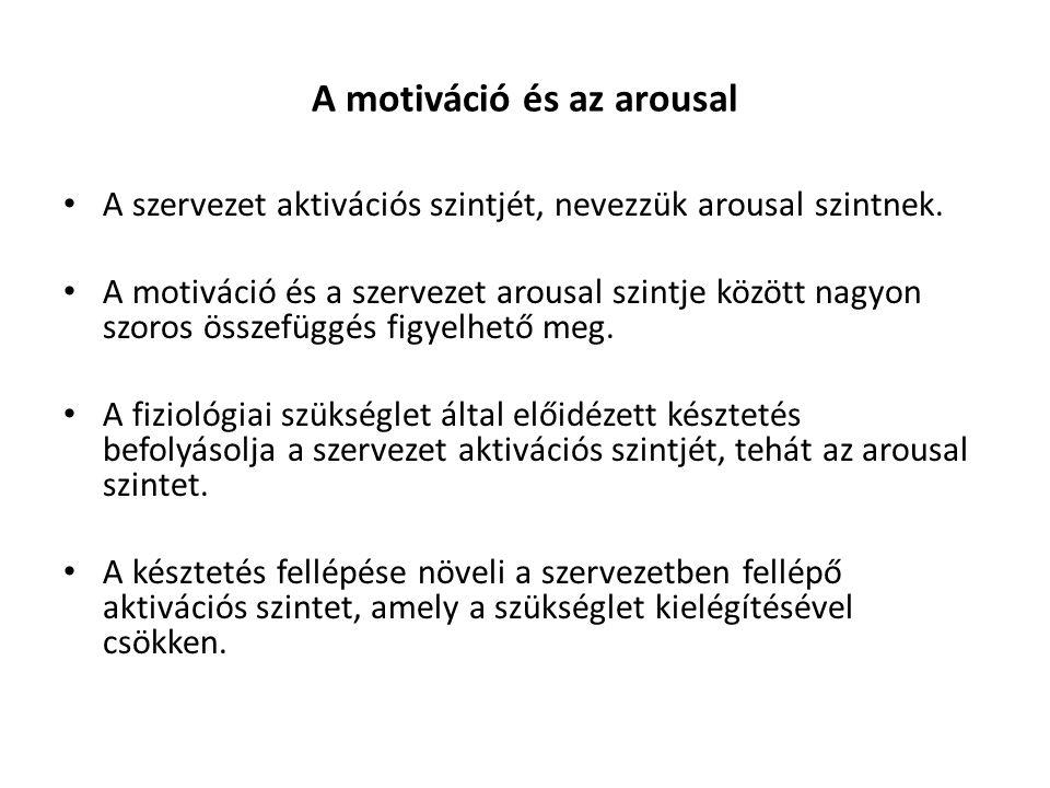 A motiváció és az arousal A szervezet aktivációs szintjét, nevezzük arousal szintnek. A motiváció és a szervezet arousal szintje között nagyon szoros