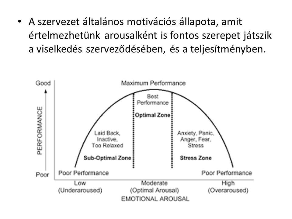 A szervezet általános motivációs állapota, amit értelmezhetünk arousalként is fontos szerepet játszik a viselkedés szerveződésében, és a teljesítményben.