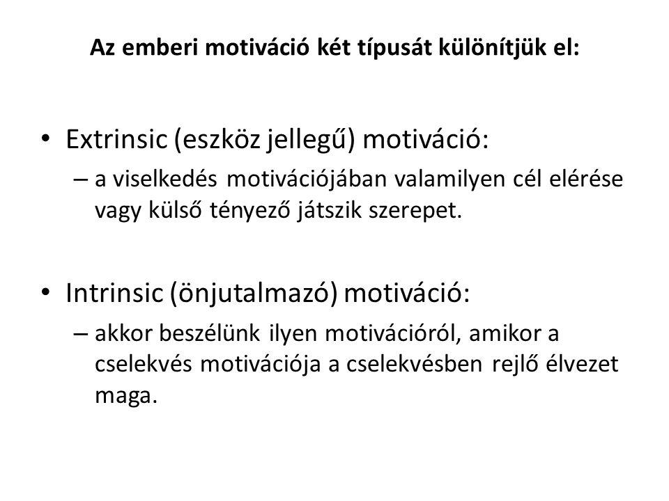 Az emberi motiváció két típusát különítjük el: Extrinsic (eszköz jellegű) motiváció: – a viselkedés motivációjában valamilyen cél elérése vagy külső tényező játszik szerepet.