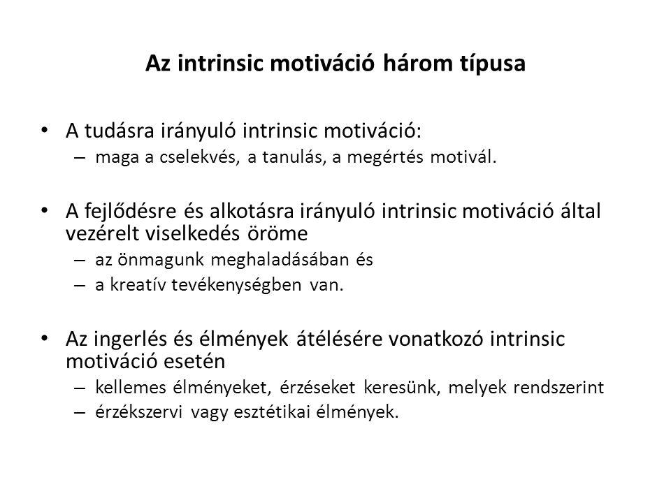 Az intrinsic motiváció három típusa A tudásra irányuló intrinsic motiváció: – maga a cselekvés, a tanulás, a megértés motivál. A fejlődésre és alkotás