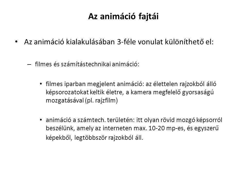 Az animáció fajtái Az animáció kialakulásában 3-féle vonulat különíthető el: – filmes és számítástechnikai animáció: filmes iparban megjelent animáció