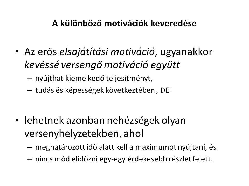 A különböző motivációk keveredése Az erős elsajátítási motiváció, ugyanakkor kevéssé versengő motiváció együtt – nyújthat kiemelkedő teljesítményt, – tudás és képességek következtében, DE.