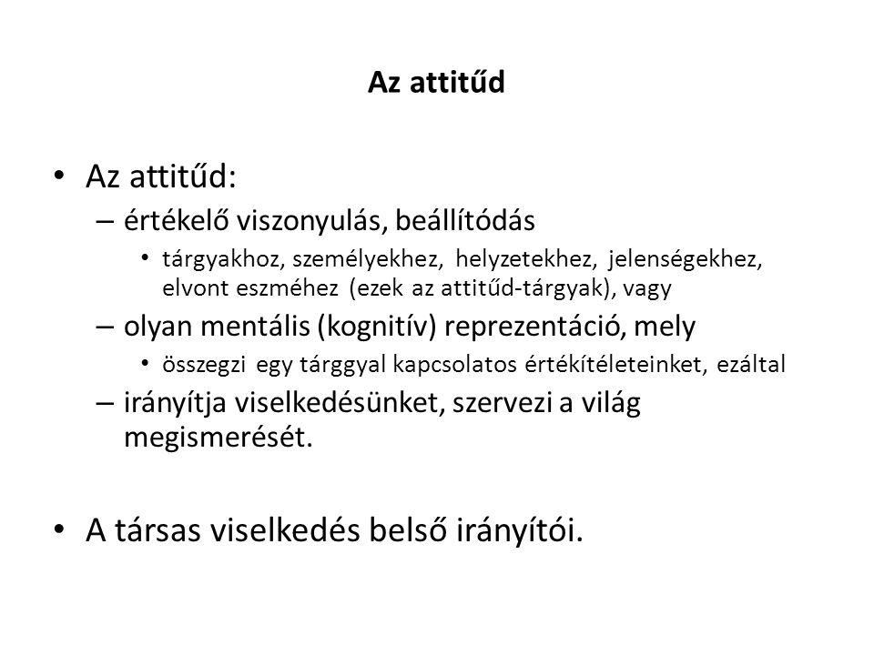 Az attitűd Az attitűd: – értékelő viszonyulás, beállítódás tárgyakhoz, személyekhez, helyzetekhez, jelenségekhez, elvont eszméhez (ezek az attitűd-tár