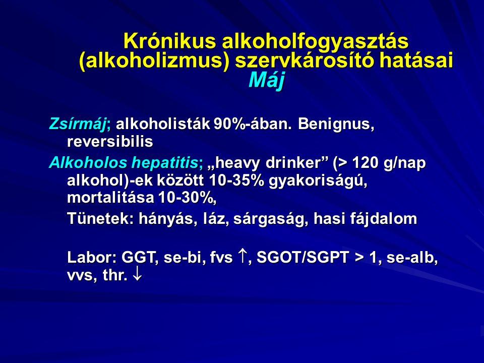 Krónikus alkoholfogyasztás (alkoholizmus) szervkárosító hatásai Máj Zsírmáj; alkoholisták 90%-ában.