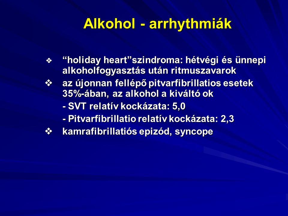 Alkohol - arrhythmiák  holiday heart szindroma: hétvégi és ünnepi alkoholfogyasztás után ritmuszavarok  holiday heart szindroma: hétvégi és ünnepi alkoholfogyasztás után ritmuszavarok  az újonnan fellépő pitvarfibrillatios esetek 35%-ában, az alkohol a kiváltó ok - SVT relatív kockázata: 5,0 - Pitvarfibrillatio relatív kockázata: 2,3  kamrafibrillatiós epizód, syncope