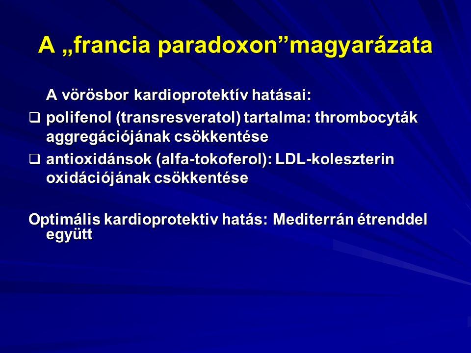 """A """"francia paradoxon magyarázata A vörösbor kardioprotektív hatásai:  polifenol (transresveratol) tartalma: thrombocyták aggregációjának csökkentése  antioxidánsok (alfa-tokoferol): LDL-koleszterin oxidációjának csökkentése Optimális kardioprotektiv hatás: Mediterrán étrenddel együtt"""