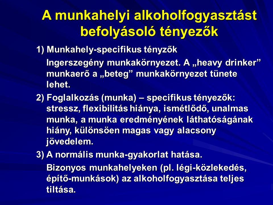 A munkahelyi alkoholfogyasztást befolyásoló tényezők 1) Munkahely-specifikus tényzők Ingerszegény munkakörnyezet.