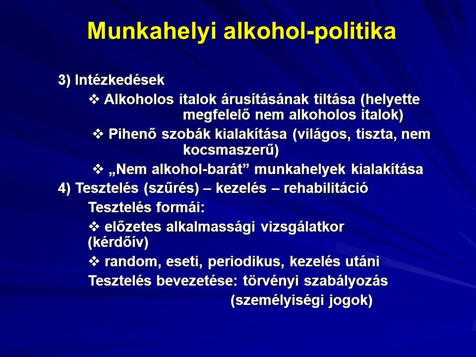 """Munkahelyi alkohol-politika 3) Intézkedések  Alkoholos italok árusításának tiltása (helyette megfelelő nem alkoholos italok)  Pihenő szobák kialakítása (világos, tiszta, nem kocsmaszerű)  Pihenő szobák kialakítása (világos, tiszta, nem kocsmaszerű)  """"Nem alkohol-barát munkahelyek kialakítása  """"Nem alkohol-barát munkahelyek kialakítása 4) Tesztelés (szűrés) – kezelés – rehabilitáció Tesztelés formái:  előzetes alkalmassági vizsgálatkor (kérdőív)  random, eseti, periodikus, kezelés utáni Tesztelés bevezetése: törvényi szabályozás (személyiségi jogok)"""
