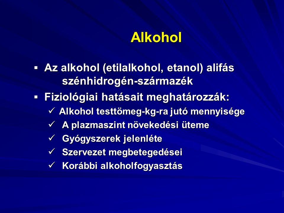 Alkohol Felszívódás: vékonybél Szöveti eloszlás: egyenletes (kivéve: zsírszövet) Kiválasztás: 90-95%-ban máj metabolizálja (2 mmol/perc) Alkoholbontás sebessége: 7-10 g/óra ADH (alkoholdehidrogenáz) MEOS (100 mg% felett)  alkohol  acetaldehid aldehiddehidrogenáz   acetaldehid   acetát  CO 2 + H 2 O