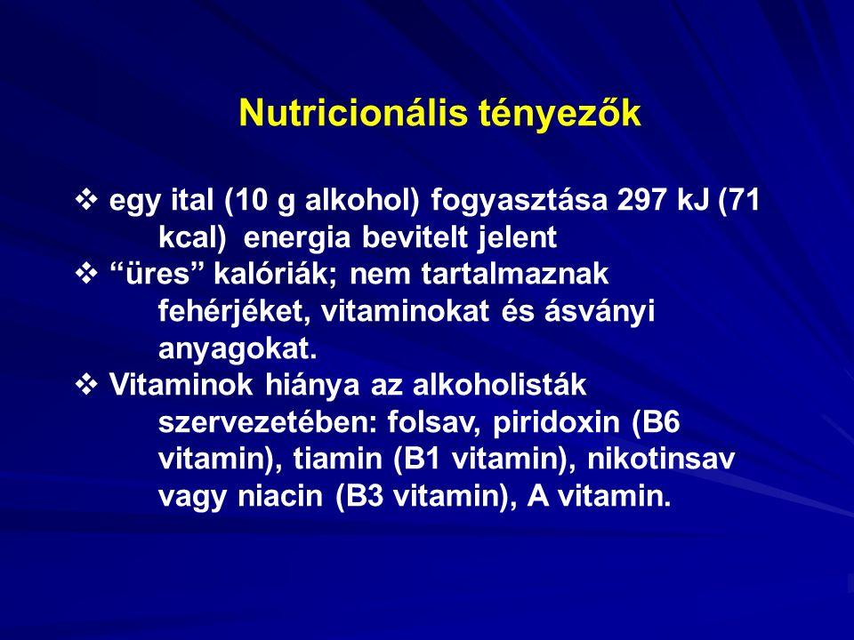 Nutricionális tényezők  egy ital (10 g alkohol) fogyasztása 297 kJ (71 kcal) energia bevitelt jelent  üres kalóriák; nem tartalmaznak fehérjéket, vitaminokat és ásványi anyagokat.