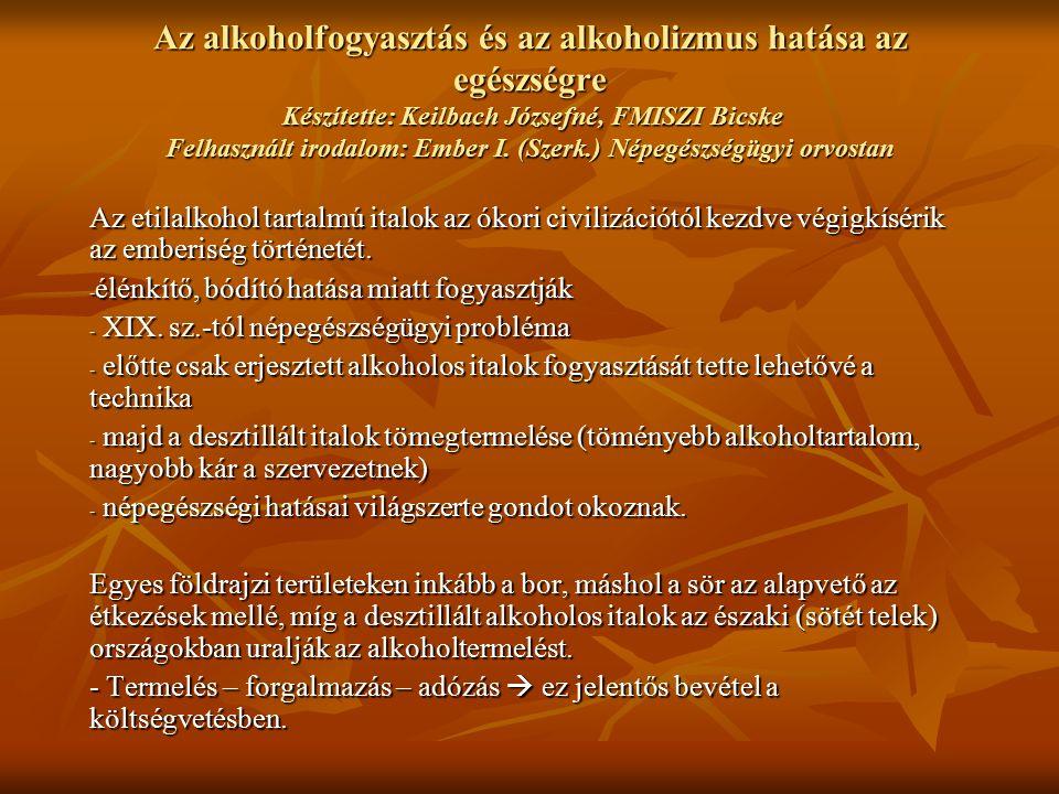 Az alkoholfogyasztás és az alkoholizmus hatása az egészségre Készítette: Keilbach Józsefné, FMISZI Bicske Felhasznált irodalom: Ember I.