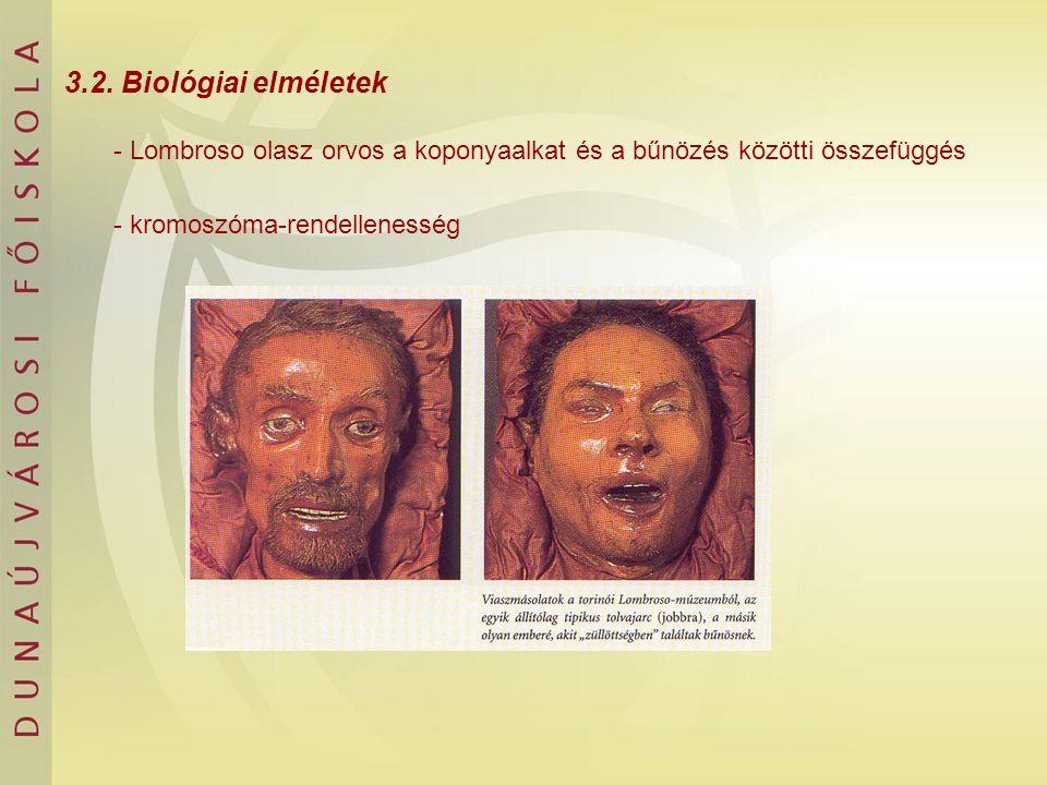 3.2. Biológiai elméletek - Lombroso olasz orvos a koponyaalkat és a bűnözés közötti összefüggés - kromoszóma-rendellenesség