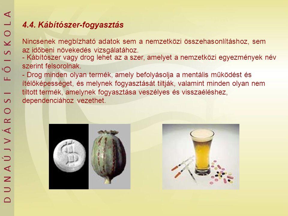 4.4. Kábítószer-fogyasztás Nincsenek megbízható adatok sem a nemzetközi összehasonlításhoz, sem az időbeni növekedés vizsgálatához. - Kábítószer vagy