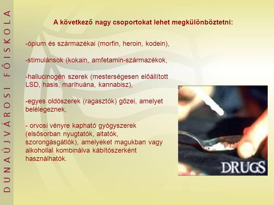 A következő nagy csoportokat lehet megkülönböztetni: -ópium és származékai (morfin, heroin, kodein), -stimulánsok (kokain, amfetamin-származékok, -hal