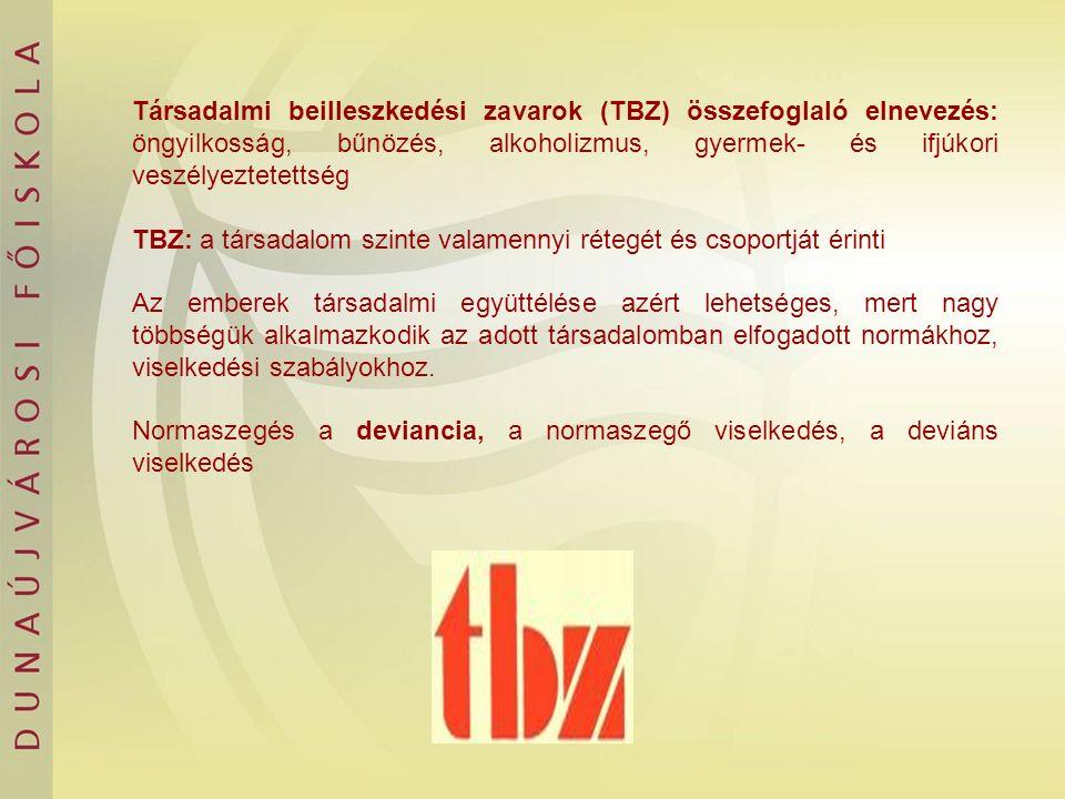 Társadalmi beilleszkedési zavarok (TBZ) összefoglaló elnevezés: öngyilkosság, bűnözés, alkoholizmus, gyermek- és ifjúkori veszélyeztetettség TBZ: a tá