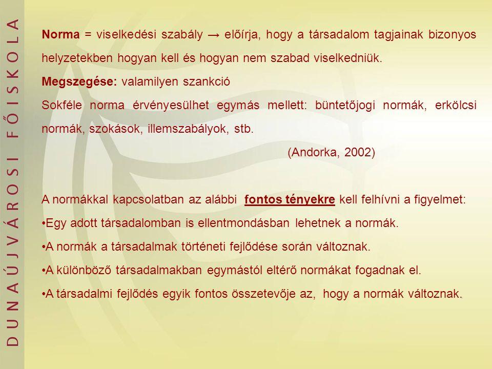 Norma = viselkedési szabály → előírja, hogy a társadalom tagjainak bizonyos helyzetekben hogyan kell és hogyan nem szabad viselkedniük. Megszegése: va