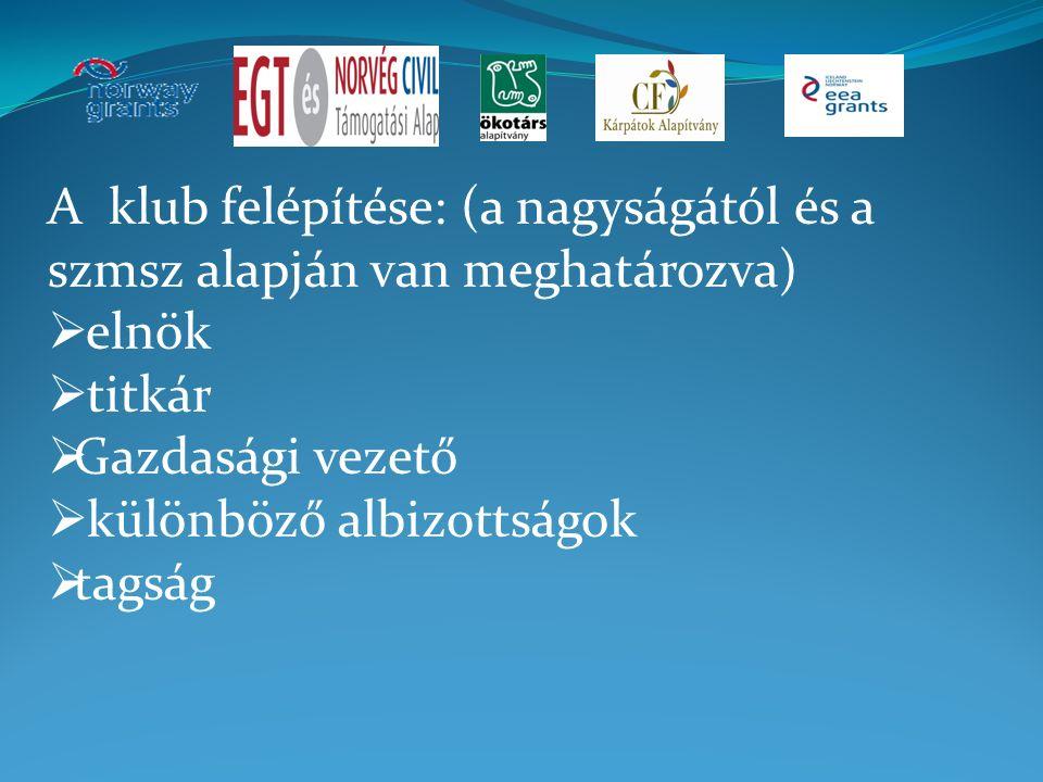 A klub felépítése: (a nagyságától és a szmsz alapján van meghatározva)  elnök  titkár  Gazdasági vezető  különböző albizottságok  tagság