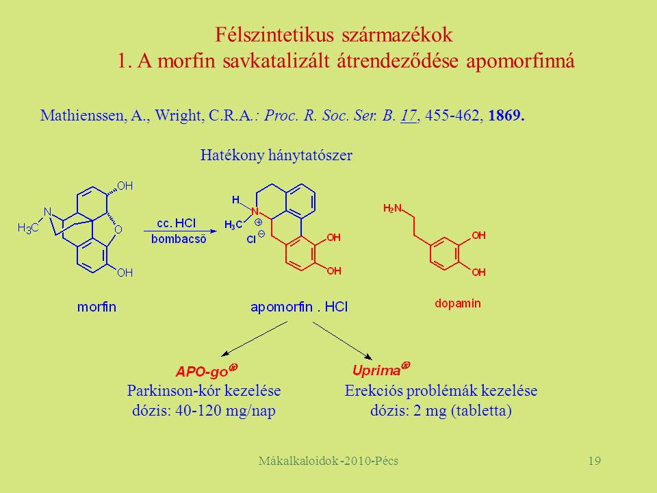 Mákalkaloidok -2010-Pécs19 Parkinson-kór kezelése dózis: 40-120 mg/nap Erekciós problémák kezelése dózis: 2 mg (tabletta) Félszintetikus származékok 1.