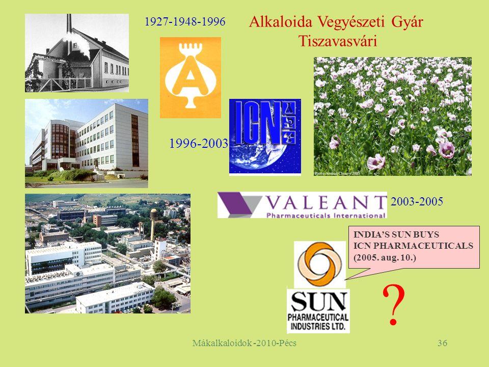 Mákalkaloidok -2010-Pécs36 . INDIA'S SUN BUYS ICN PHARMACEUTICALS (2005.