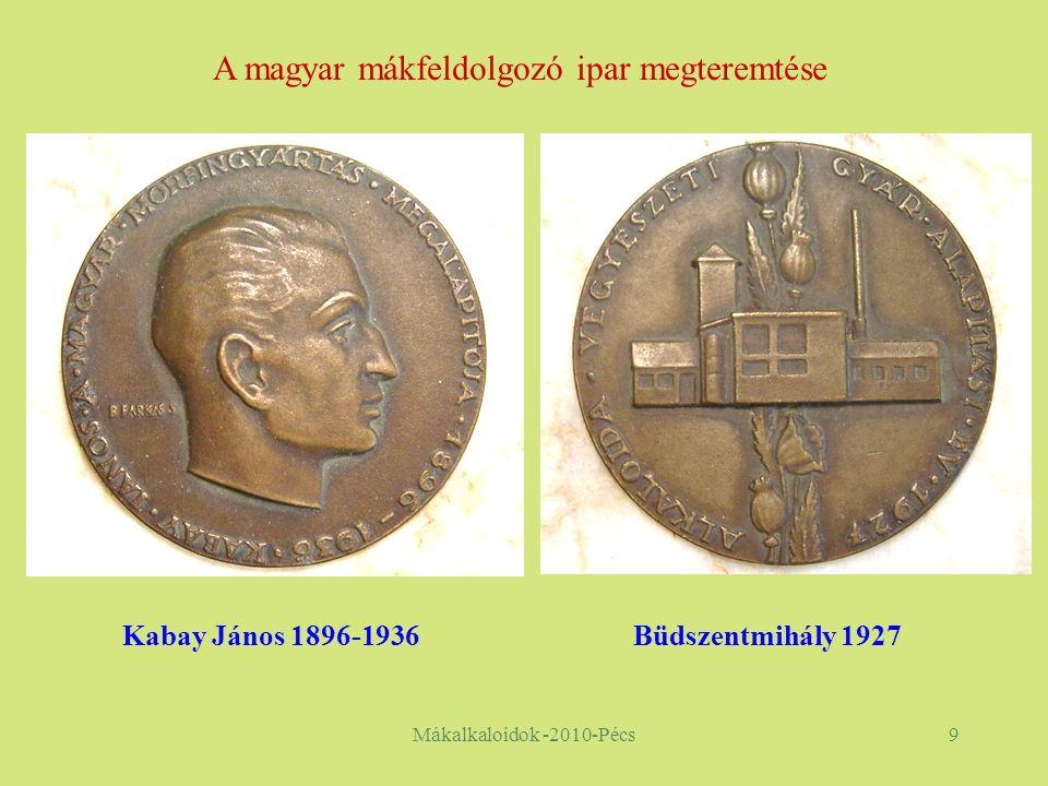 Mákalkaloidok -2010-Pécs9 Kabay János 1896-1936Büdszentmihály 1927 A magyar mákfeldolgozó ipar megteremtése