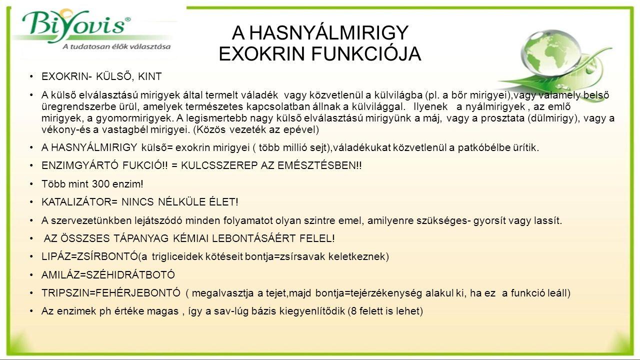 A HASNYÁLMIRIGY EXOKRIN FUNKCIÓJA EXOKRIN- KÜLSŐ, KINT A külső elválasztású mirigyek által termelt váladék vagy közvetlenül a külvilágba (pl.