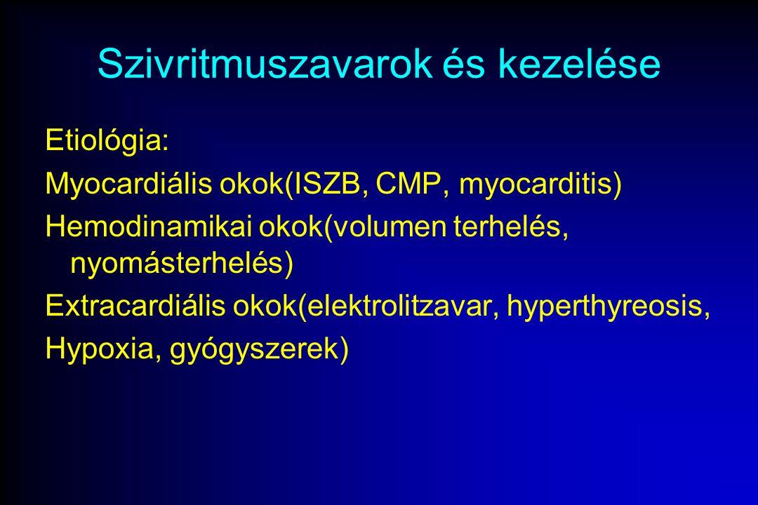 Szivritmuszavarok és kezelése Etiológia: Myocardiális okok(ISZB, CMP, myocarditis) Hemodinamikai okok(volumen terhelés, nyomásterhelés) Extracardiális okok(elektrolitzavar, hyperthyreosis, Hypoxia, gyógyszerek)