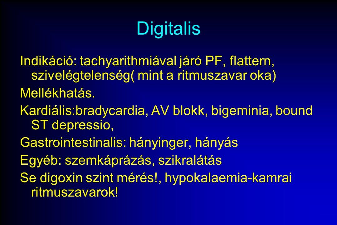 Digitalis Indikáció: tachyarithmiával járó PF, flattern, szivelégtelenség( mint a ritmuszavar oka) Mellékhatás.