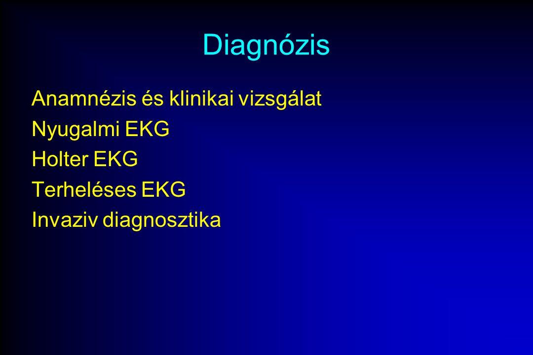 Diagnózis Anamnézis és klinikai vizsgálat Nyugalmi EKG Holter EKG Terheléses EKG Invaziv diagnosztika