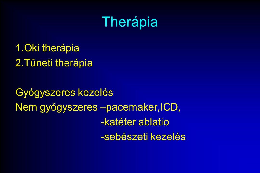 Therápia 1.Oki therápia 2.Tüneti therápia Gyógyszeres kezelés Nem gyógyszeres –pacemaker,ICD, -katéter ablatio -sebészeti kezelés