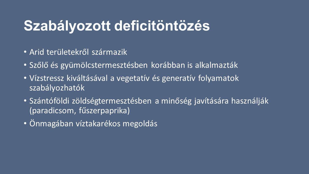 Szabályozott deficitöntözés Arid területekről származik Szőlő és gyümölcstermesztésben korábban is alkalmazták Vízstressz kiváltásával a vegetatív és
