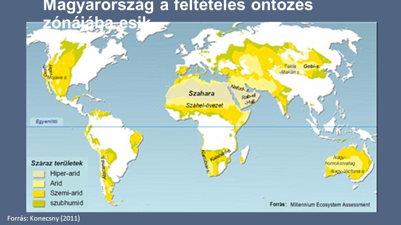 Magyarország a feltételes öntözés zónájába esik Forrás: Konecsny (2011)