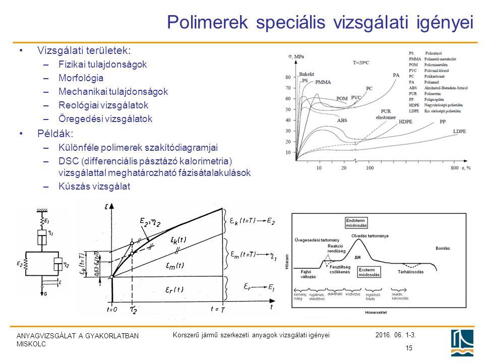 ANYAGVIZSGÁLAT A GYAKORLATBAN MISKOLC Polimerek speciális vizsgálati igényei Vizsgálati területek: –Fizikai tulajdonságok –Morfológia –Mechanikai tulajdonságok –Reológiai vizsgálatok –Öregedési vizsgálatok Példák: –Különféle polimerek szakítódiagramjai –DSC (differenciális pásztázó kalorimetria) vizsgálattal meghatározható fázisátalakulások –Kúszás vizsgálat 2016.