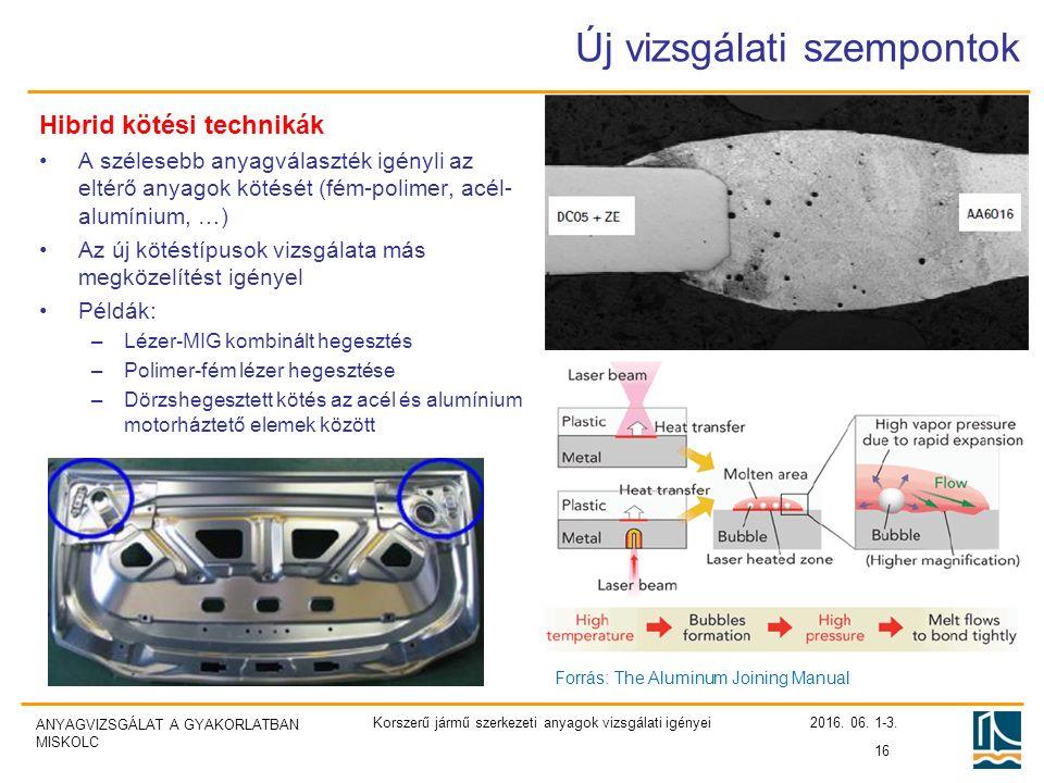 ANYAGVIZSGÁLAT A GYAKORLATBAN MISKOLC Új vizsgálati szempontok Hibrid kötési technikák A szélesebb anyagválaszték igényli az eltérő anyagok kötését (fém-polimer, acél- alumínium, …) Az új kötéstípusok vizsgálata más megközelítést igényel Példák: –Lézer-MIG kombinált hegesztés –Polimer-fém lézer hegesztése –Dörzshegesztett kötés az acél és alumínium motorháztető elemek között 2016.