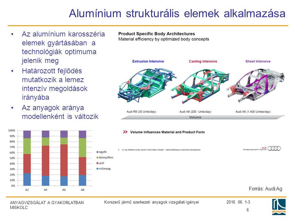 ANYAGVIZSGÁLAT A GYAKORLATBAN MISKOLC Alumínium strukturális elemek alkalmazása Az alumínium karosszéria elemek gyártásában a technológiák optimuma jelenik meg Határozott fejlődés mutatkozik a lemez intenzív megoldások irányába Az anyagok aránya modellenként is változik 6 Forrás: Audi Ag 2016.
